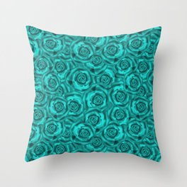 Bright turquoise roses Throw Pillow