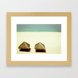 Vintage Beach Huts Framed Art Print