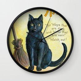 Merry Halloween Black Cat Wall Clock