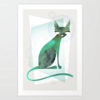mid century Art Prints featuring Mid-Century Feline by a. peterson