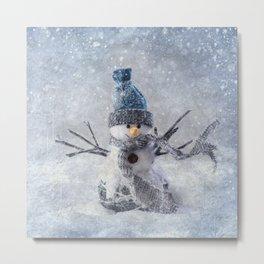 Cute snowman frozen freeze Metal Print