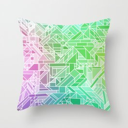 Bright Gradient (Violet Purple Lime Green Neon Yellow) Geometric Pattern Print Throw Pillow