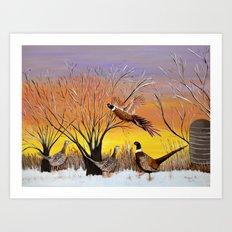 Pheasants in the sunrise Art Print