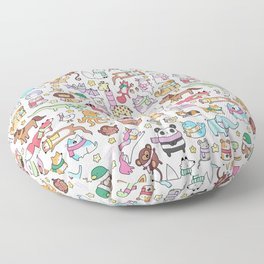 Winter Animals with Scarves Doodle Floor Pillow