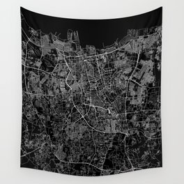 Jakarta Black Map Wall Tapestry