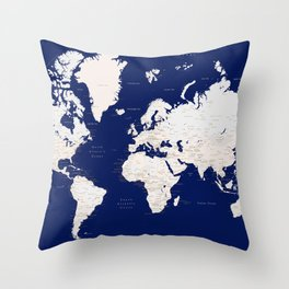 "Navy blue and light brown detailed world map ""Gavin"" Throw Pillow"