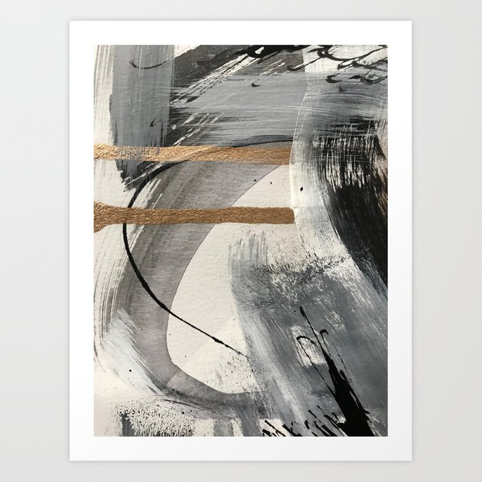 Armor [7]: a bold minimal abstract mixed media piece in gold, black and white Kunstdrucke