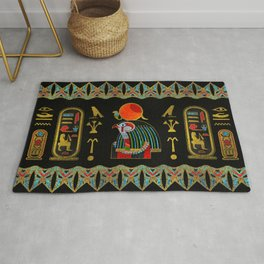 Egyptian Horus Ornament in colored glass and gold Rug