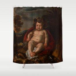 """Jacob Jordaens """"Bacchus as a child"""" Shower Curtain"""