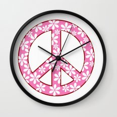 Peace Sign With Flowers In Pink Wall Clock