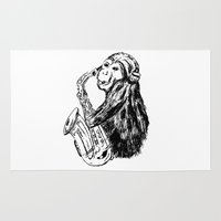 saxophone Area & Throw Rugs featuring Musician monkey saxophone by Jemma Banks