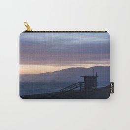 Lifeguard House Sunset - Ocean Sunset, Seascape, Landscape, Scenery, Beautiful Light Lavender Carry-All Pouch