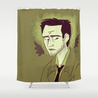 castiel Shower Curtains featuring Castiel by The Art of Nicole
