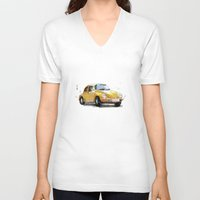 vw V-neck T-shirts featuring VW Beetle by Carlos Quiterio
