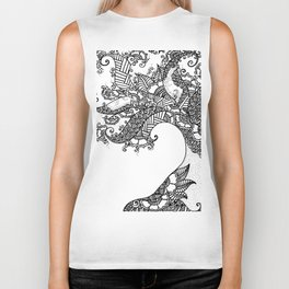 Zen Tree Rebirth White Left Half Biker Tank