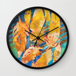 Boho Feathers Art Print | Fall Home Decor Watercolor in Gold Blue Teal Wall Clock