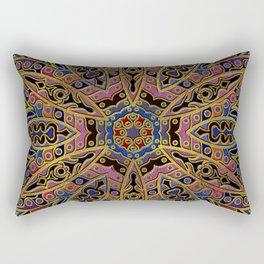 Mandala Gold Embossed on Faux Leather Rectangular Pillow