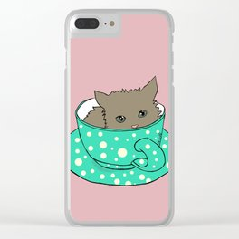 Fluffy Kitten In A Teacup Pink Background Clear iPhone Case