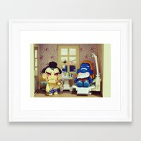 dentist Framed Art Prints featuring Nightmare at the Dentist by Arwan Mauriattama