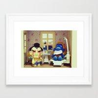 dentist Framed Art Prints featuring Nightmare at the Dentist by Arwan Mauriattama