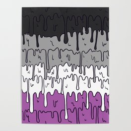 Cute Pride Pastel Melting Pride Design, Asexual  flag Poster