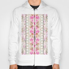 Pink Floral White Abstract Aztec Triangle Pattern Hoody