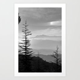 Rainbow clouds at the mountains at sunrise. BW Art Print