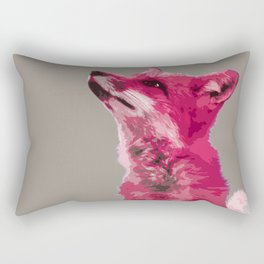 FOX, PINK FOX, PINK FOX WALL ART, CUTE FOX, FOX FACE, FOX IN PINK, WINTER FOX, Rectangular Pillow