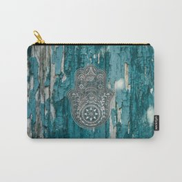 Silver Hamsa Hand On Turquoise Wood Carry-All Pouch