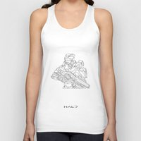 master chief Tank Tops featuring HALO Master Chief continuous line by Sam Hallows