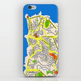 Salvador, Brasil Map Design iPhone Skin