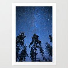 Shimmering Blue Night Sky Stars Art Print