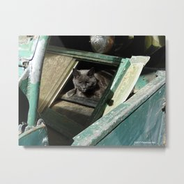 Postapocalypse Kitty Awakens Metal Print