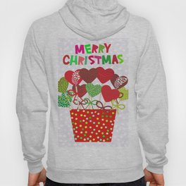 Christmas design Cake pops set with bow gray background with snowflakes. Hoody