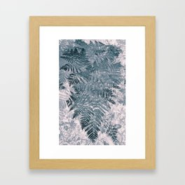 Teal Tropical Leaves Framed Art Print