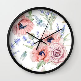 Fall Country Flowers Wall Clock