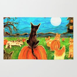 Seven Cats in Pumpkin Patch Rug