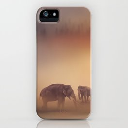 Group of elephants at sunset iPhone Case