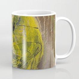 Lime spray painting on canvas, handmade Coffee Mug