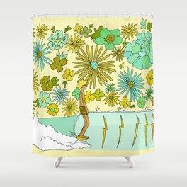 retro daydreams hang 10 florida // retro surf art by surfy birdy Shower Curtain