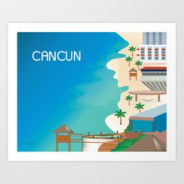 Cancun, Mexico - Skyline Illustration by Loose Petals Art Print