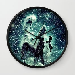 Nebula Galaxy : Teal Pillars of Creation Wall Clock