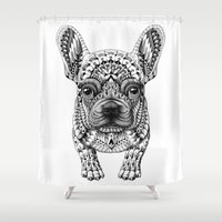 bioworkz Shower Curtains featuring Frenchie by BIOWORKZ