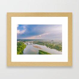 Aerial view of Neris river Framed Art Print