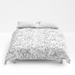 Monstera Black and White Line Art Pattern Comforters