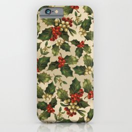 Gold and Red Holly Berrys iPhone Case