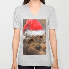 Penny the Yorkipoo with Santa Hat Unisex V-Neck