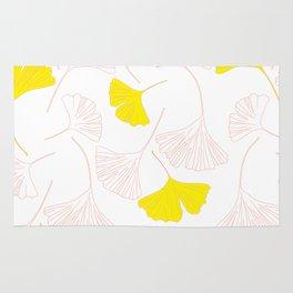 Pink Gingko Leaves, Yellow Gingko Leaves, Gingko Pattern Rug