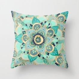 Gilded Emerald Enamel Throw Pillow