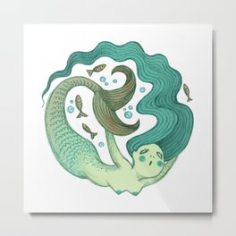 Aquamarine Mermaid Metal Print